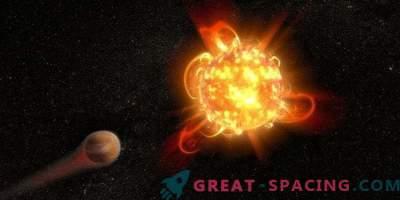 Mächtige Blitze roter Zwerge bedrohen die Planeten