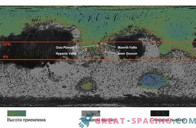 Posibles sitios de aterrizaje seleccionados para ExoMars rover
