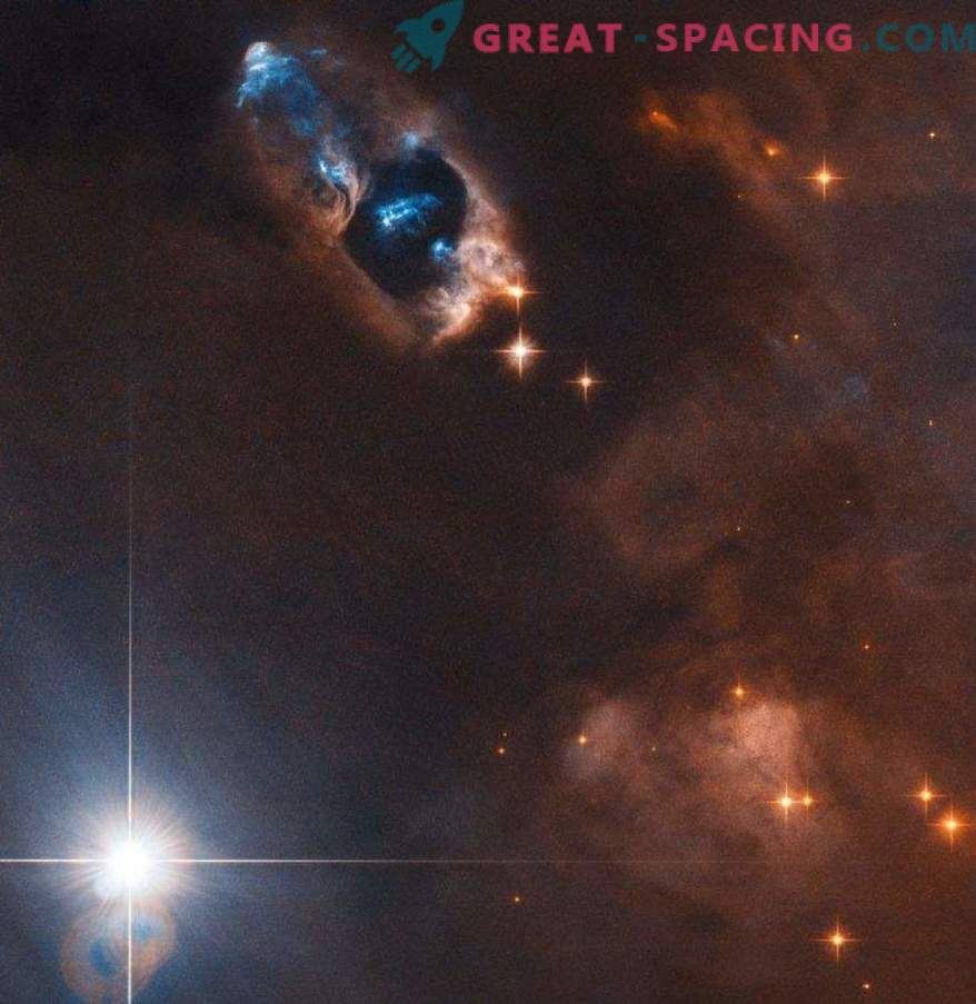 The Hubble Telescope captures gaseous objects near the newborn star