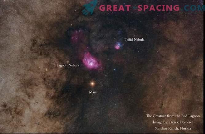 Marte y Nebulosas en una impresionante fotografía del cielo nocturno